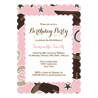 Cute Cowgirl Theme Pink Birthday Party Invitation