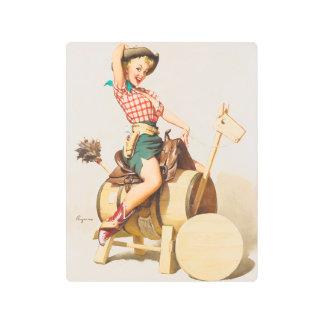 Cute cowgirl vintage pinup girl metal print