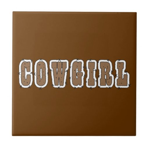 Cute Cowgirl Western - Choose Background Color Tile