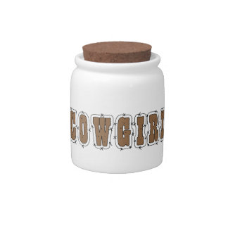 Cute Cowgirl Western Humor Spare Change Bank Candy Jar
