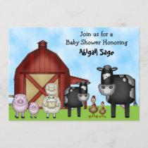 Cute Cows and Barnyard Farm Animals Baby Shower Invitation