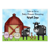 Cute Cows and Barnyard Farm Animals Baby Shower Invitation
