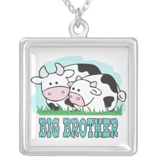 Cute Cows Big Brother Square Pendant Necklace