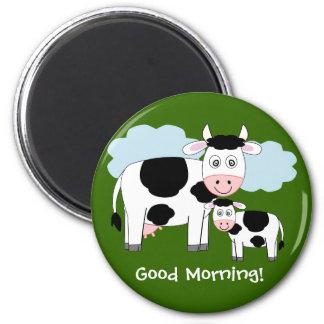 "Cute cows  fridge magnet  ""Good morning"""