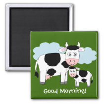 "Cute cows  fridge magnet  ""Good morning"""
