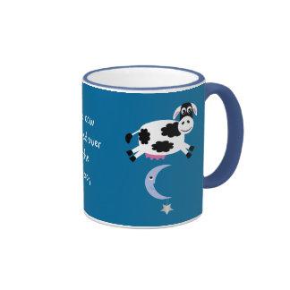 Cute Cows Jumping Over The Moon Ringer Mug