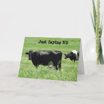 Cute Cows Just Saying Hi Card to Keep in Touch