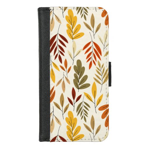 Cute Cozy Fall Leaves Pattern iPhone 8/7 Wallet Case
