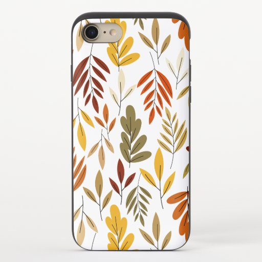 Cute Cozy Fall Leaves Pattern iPhone 8/7 Slider Case
