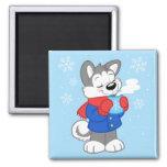Cute cozy husky magnet