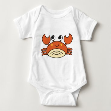 Beach Themed Cute Crab Baby Bodysuit