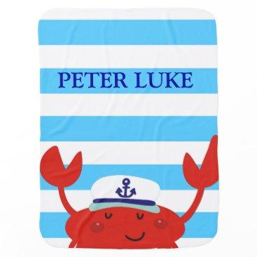 Beach Themed Cute Crab Blue Stripes Pattern Receiving Stroller Blanket