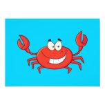"""Cute Crab Cartoon 5"""" X 7"""" Invitation Card"""