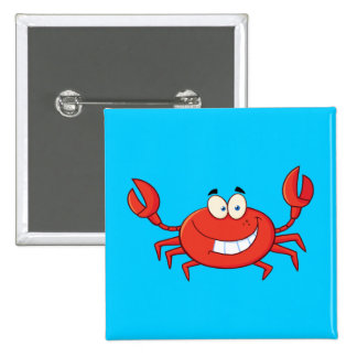 Cute Crab Cartoon Button
