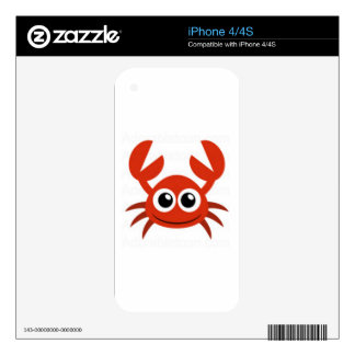cute crab clip art decal for iPhone 4