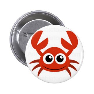 cute crab clip art pinback button