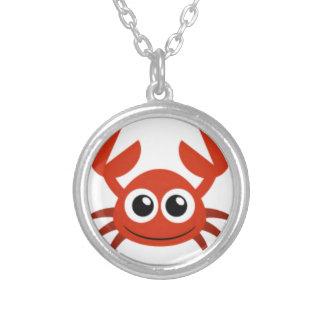 cute crab clip art round pendant necklace