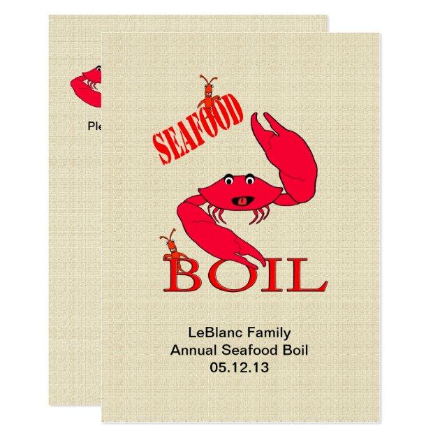 Cute Crab Crawfish / Lobster Seafood Boil Card | Zazzle