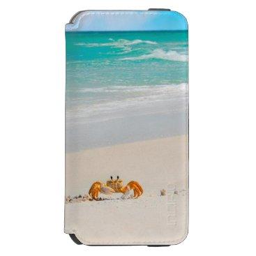 Beach Themed Cute Crab on a Tropical Beach iPhone 6/6s Wallet Case