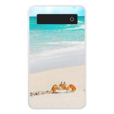 Beach Themed Cute Crab on a Tropical Beach Power Bank