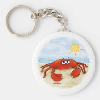 Cute crab on beach keychain