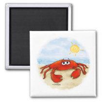Cute crab on beach magnet