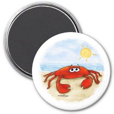 Beach Themed Cute crab on beach magnet