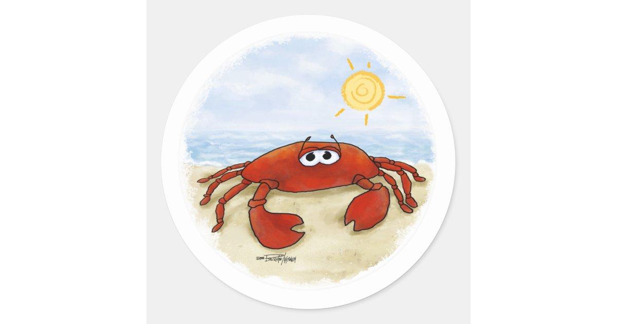 Cute Crab On Beach Stickers Zazzle Com