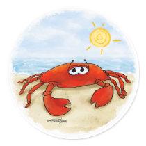 Cute crab on beach stickers
