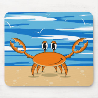 Cute Crab on Sandy Beach Mouse Pad