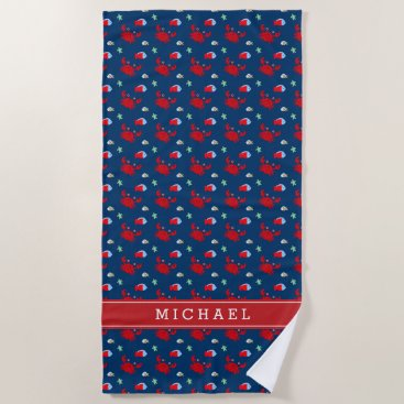 Beach Themed Cute Crab Pattern Kids Beach Towel