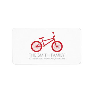 Cute Cranberry Red Bicycle Address Label