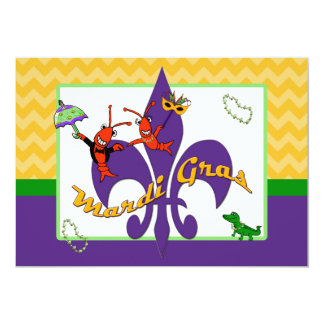Cute Crawfish Fleur de Lis Mardi Gras Card