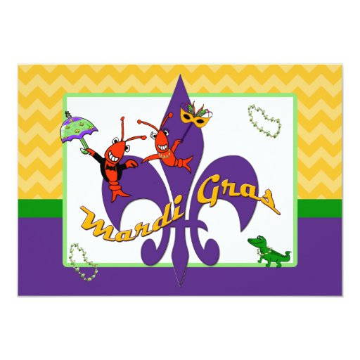 cute crawfish fleur de lis mardi gras card zazzle Mardi Gras Beads Mardi Gras Clip Art Borders