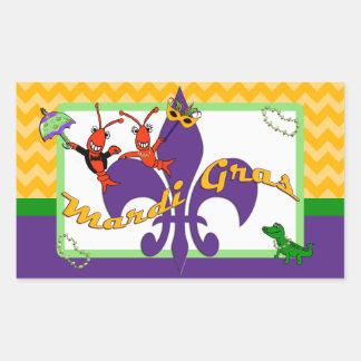 Cute Crawfish Fleur de Lis Mardi Gras Rectangular Sticker