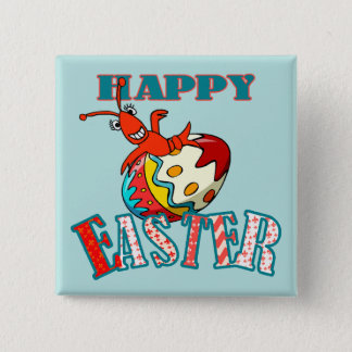 Cute Crawfish Happy Easter Pinback Button