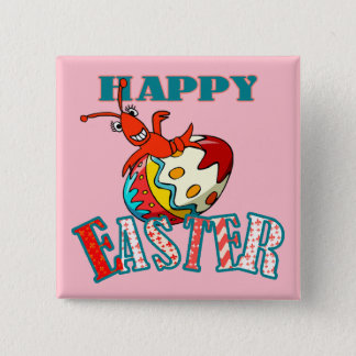 Cute Crawfish Happy Easter (pink) Pinback Button