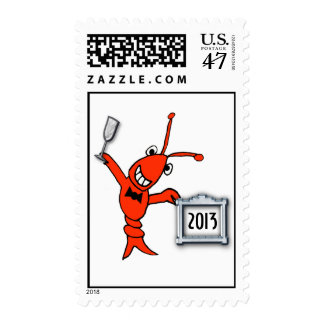 Cute Crawfish (Lobster) 2013 New Year Postage
