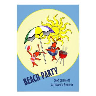 Cute Crawfish Lobster Beach Party Invitation