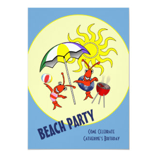 Cute Crawfish Lobster Beach Party 5x7 Paper Invitation Card
