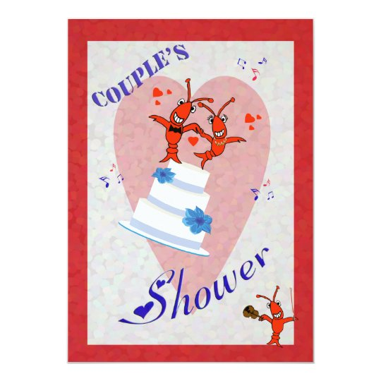 Cute Crawfish (Lobster) Couple's Shower Invitation
