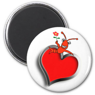 Cute Crawfish / Lobster Heart 2 Inch Round Magnet