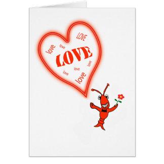 Cute Crawfish / Lobster Heart Love Valentine Card