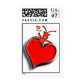 Cute Crawfish (Lobster) Heart Postage Stamp