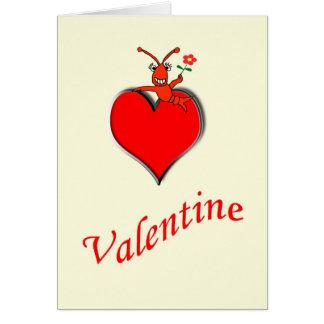 Cute Crawfish / Lobster Heart Valentine Card