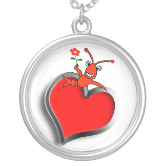 Cute Crawfish / Lobster Love Heart Silver Plated Necklace