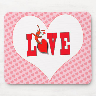 Cute Crawfish Lobster Love Mouse Pad