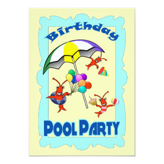 Cute Crawfish Lobster Pool Party Child Blue Card