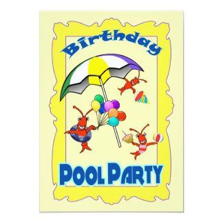 Cute Crawfish Lobster Pool Party Child Card