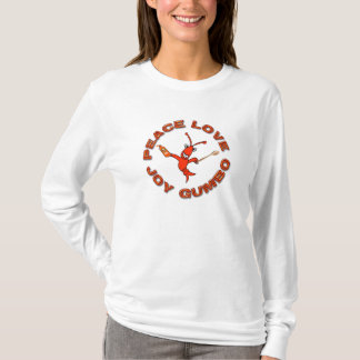 Cute Crawfish Peace Love  Joy Gumbo T-Shirt